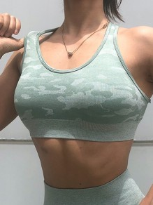 Green Camouflage Cross Back Running Fitness Sports Bra