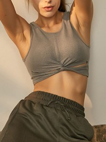 Grey Cut Out Strapless Wire Free Padded Sport Bra
