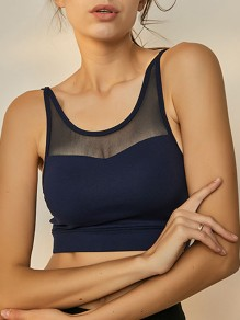 Navy Blue Cut Out Grenadine Non-adjustable Straps Wire Free Padded Sport Bra