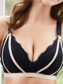 Black Lace Three Quarters Backless Wire Free Padded Nursing Bras