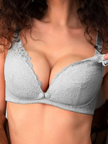 Grey Lace Three Quarters Backless Wire Free Padded Nursing Bras
