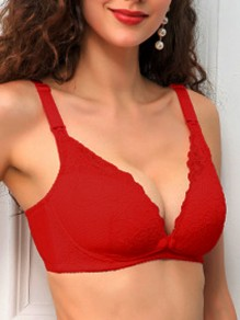 Red Lace Three Quarters Backless Wire Free Padded Nursing Bras