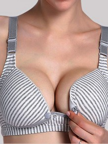 Grey Striped Non-adjustable Straps Three Quarters Backless Wire Free Padded Nursing Bras