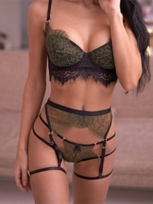 Green Patchwork Lace Three Piece Lingerie Elegant Short Bra & Panty Sets