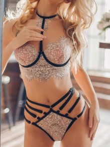 White Patchwork Lace Two Piece Lingerie Elegant Short Bra & Panty Sets