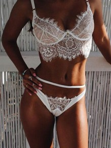 White Patchwork Lace Spaghetti Strap Lace-up Two Piece Sheer Lingerie Bra Panty Sets