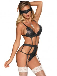 Black Patchwork Lace Whith Ribbon One Piece Plus Size Lingerie Bra Panty Set