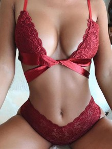 Red Patchwork Lace Spaghetti Strap Two Piece Lingerie Bra Panty Set
