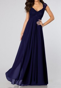 Blue Patchwork Pleated Scoop Neck Elegant Chiffon Maxi Dress