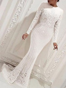 White Floral Sequin Mermaid Sparkly NYE Banquet Party Maxi Dress