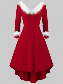 Red-White Patchwork Faux Fur High-low Backless Christmas Party Midi Dress
