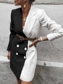 Black White Hit Color Double Breasted Turndown Collar Blazer Dress