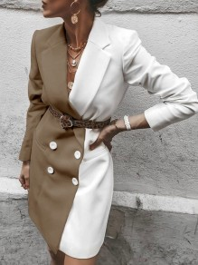 Khaki White White Hit Color Double Breasted Turndown Collar Blazer Dress
