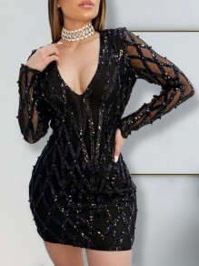 Black Geometric Sequin Deep V-neck Sparkly NYE Bodycon Clubwear Mini Dress
