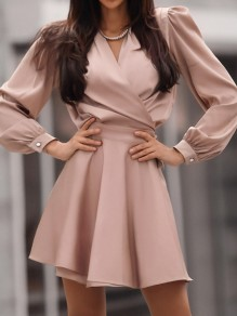 Pink Solid Color V-neck Homecoming Party Fashion Mini Dress