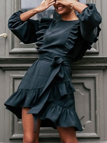 Black Ruffle Sashes Round Neck Long Sleeve Fashion Mini Dress