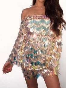 Silver Geometric Sequin Tassel Off Shoulder NYE Sparkly Banquet Party Mini Dress