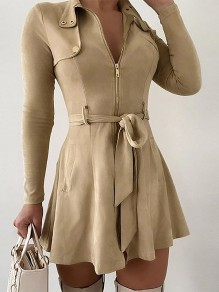 Apricot Solid Color Sashes Zipper V-neck Long Sleeve Going Out Mini Dress