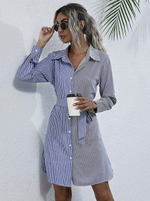 Blue Striped Patchwork Buttons Sashes Daily Blouse Mini Dress