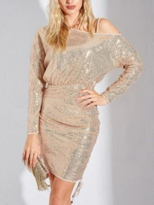 Apricot Irregular Sequin One-Shoulder Sparkly NYE Plus Size Party Mini Dress