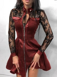 Burgundy Patchwork Lace Zipper High Waisted Plus Size Skater Homecoming Mini Dress