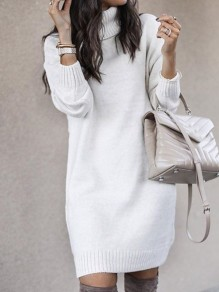 White Solid Color High Neck Long Sleeve Going Out Sweater Mini Dress