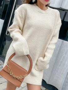 Beige Solid Color Belt Round Neck Elegant Sweater Mini Dress