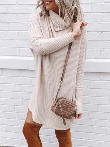 Apricot Solid Color High Neck Fashion Sweater Pullover