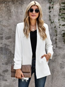 White Solid Color Pockets Office Worker Blazer