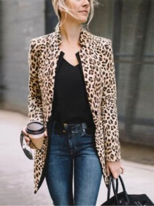 Brown Leopard Long Sleeve Going out Blazer