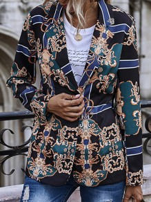 Black Floral Buttons Print Turndown Collar Going out Blazer