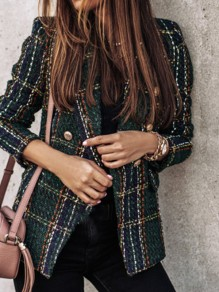 Green Plaid Double Breasted Turndown Collar Office Worker Blazer