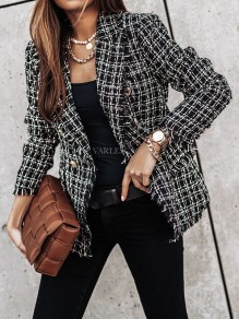 Black Plaid Double Breasted Turndown Collar Fashion Blazer
