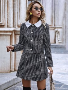 Black Plaid Buttons Turndown Collar Elegant Blazer