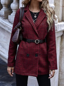 Red Plaid Buttons Turndown Collar Going out Blazer