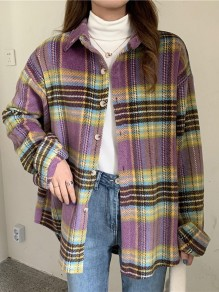 Purple Plaid Buttons Turndown Collar Long Sleeve Fashion Blouse