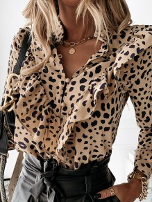 Khaki Leopard Ruffle V-neck Long Sleeve Fashion Blouse