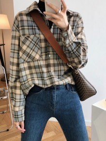 Grey Plaid Buttons Pockets Turndown Collar Fashion Blouse