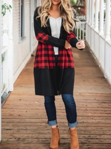 Black-Red Plaid Print Long Sleeve Flannel Christmas Cardigan Coat