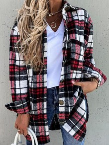 Red-Black Plaid Single Breasted Pockets Turndown Collar Casual Blouse Coat