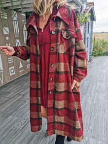 Red-Black Plaid Single Breasted Pockets Casual Wool Coat