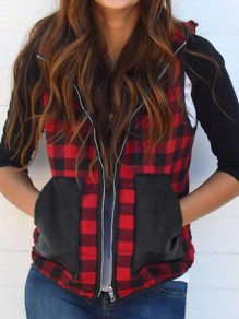 Red-Black Plaid Pockets Turndown Collar Flannel Christmas Hooded Vest Coat