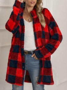 Red-Black Plaid Pockets Single Breasted Turndown Collar Fuzzy Christmas Coat