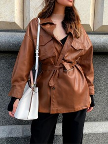 Brown Pockets Single Breasted Belt PU Leather Fashion Outerwear
