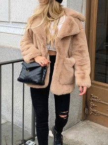 Camel Solid Color Pockets Turndown Collar Teddy Outerwear Coat