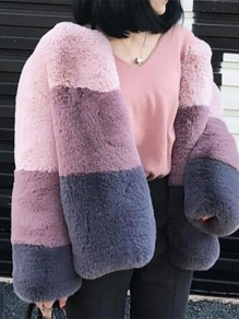 Multicolor Color Block Long Sleeve Fashion Tweed Coat