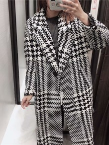 Black Plaid Buttons Pockets Turndown Collar Fashion Wool Coat