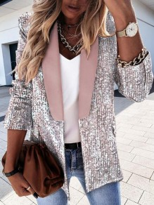 Pink Patchwork Sequin Turndown Collar Long Sleeve Cardigan Jacket Coat