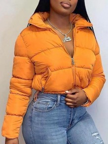 Orange Pockets Zipper Crop Bubble Padded Coat