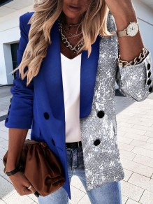 Royal Blue Patchwork Sequin Turndown Collar Long Sleeve Cardigan Jacket Coat